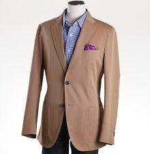 NWT $1695 LUCIANO BARBERA Tan Herringbone Twill Cotton Sport Coat 40 R (Eu 50)