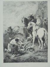 Gravure XIXe, Fromentin, Orientalisme, Fauconnerie, Chasse, Etching Rapaces 19th