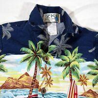 Kys Hawaiian Aloha Shirt Size 1-2 Tiki Woodie Classic Car Surfboard Beach Palm