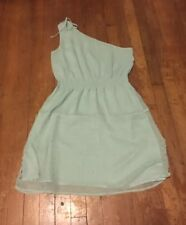 One shoulder Dress, size Medium, Color Aqua With Dots Design