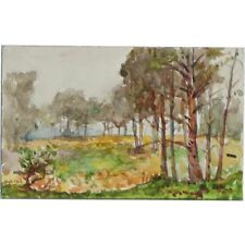 ORIGINALE 1916 miniature Berkshire foresta paesaggio dipinto ad Acquerello Cooper