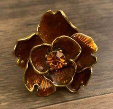Kenneth Jay Lane Amber Brown Enamel Gold Tone Flower Ring Adjustable Size