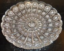 """Vintage Bohemian Queen Lace Cut Glass Thick And Heavy Intricate Cuts Plate 8.5"""""""