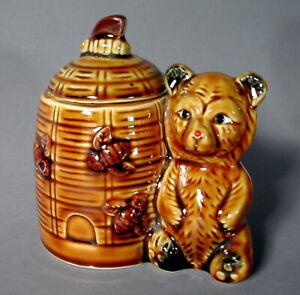 HONIGTOPF Bienenstock HonigDose mit Bär + Bienen Keramik Honey Jar Bear Bee-Hive