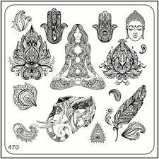 MoYou Nail Fashion Stamping Nail Art Image Plate 470 Ethnic Style Chamsa Feather