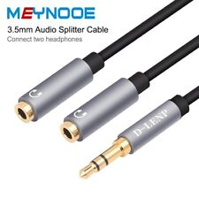 3.5mm 1 Male to 2 Female Audio Splitter AUX Y Cable Headphone Earphone Adapter