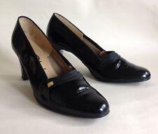 "PORTLAND Vintage 1960s Black Patent Leather 3"" Slim Heel Court Shoe UK 4.5"