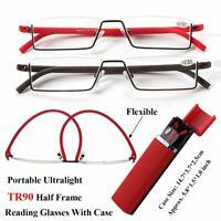 Portable Lector eyeglasses Semi - rimless La mitad de marco Gafas de lectura