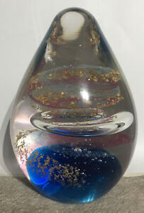 LARGE Egg Shaped Decorative Glass Paperweight Table Piece-BLUE, PINK, GOLD 1.1kg