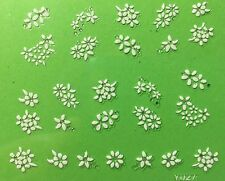 Nail Art 3D Decal Stickers White Flowers Y027