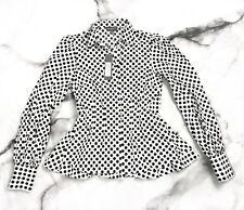 NEW Greysn Polka Dot Button Down Shirt Black White Puff Sleeve Peplum S $363