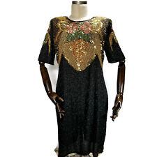 Jakelin Designs Womens Silk Beaded Dress size 1X Black and Multi Floral Beading