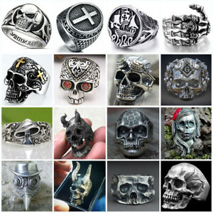 Heavy Stainless Steel Gothic Punk Biker Rings Fashion Mens Skull Jewelry Sz 7-13