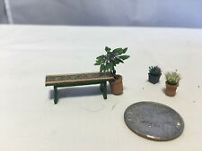 Dollhouse miniature 1:48 scale lot for the garden handmade bench flowers