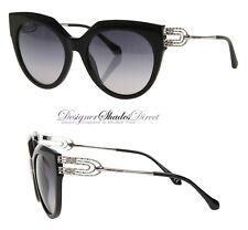Roberto Cavalli Rc1065 01C GIMIGNANO Sunglasses Black w/ Grey Women Cat Eye