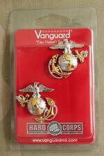USMC US MARINE CORPS OFFICER CHOKER DRESS JACKET GOLD COLLAR BRASS INSIGNIA PAIR