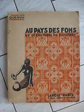 Au pays des Fons, us et coutumes du Dahomey, Maximilien Quenum 1938