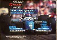 Vintage TEAM PLAYERS 1995 INDYCAR Champion Villeneuve,Brembo/stillen poster RARE