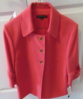 Isabella DeMarco Button Front Coral Jacket 3/4 Sleeve Size 12 New With Tags