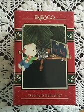 1993 ENESCO BEAR W/STEREOSCOPE CHRISTMAS ORNAMENT - SEEING IS BELIEVING