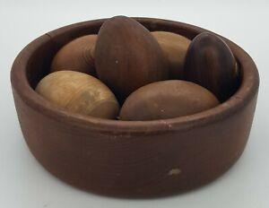 Wooden Bowl & Six Wooden Eggs (Mixed Woods)