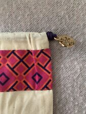 Tory Burch Drawstring Beige & Pink Patterned Boot Bag With Gold Logo Detail