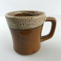 VINTAGE Hull USA Brown Drip Glaze Pottery Coffee Mug Tea Cup Large Handle 8 oz