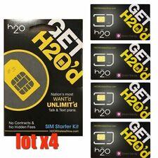 Lot X 4 H2O Wireless At&T Compatible Standard Sim Card-Att/Unlocked Phone - Byop