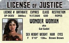 JUSTICE LEAGUE of AMERICA Wonder Woman Gal Gadot Plastic card Drivers License
