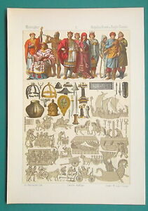 COSTUME of Anglo-Saxons Boats Arms Farming Utensils - 1883 Color Litho Print