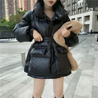 black straight cut with tie waist high jacket faux leather padded puffer coat