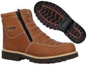Mens Tan Work Boots Rubber Sole Slip Resistant Shoes Zip Up