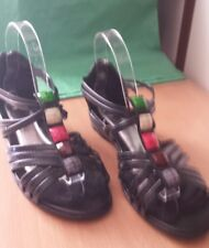 Ladies sandals size 9 (40) Black LIZA BRAND with bling. Rear zipper closer