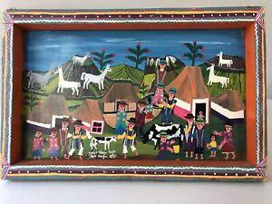 Jose Vega Cuyo Painting Naive Ecuador Folk Art Acrylic Hide 1985 Signed Picture