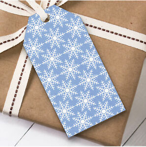 Blue And White Snowflakes Christmas Gift Tags (Present Favor Labels)
