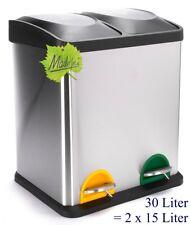 30 Liter Treteimer Mülltrennung Mülleimer Abfalleimer 2x15 L. orig. Made for us®