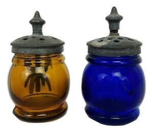 Boston & Sandwich Alden Christmas Barrel Salt Pepper Set w Agitator Cobalt Amber