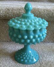 1950s Fenton Turquoise Blue Aqua Milk Glass Hobnail Pedestal Candy Compote & Lid
