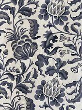 """Ikea Emmie Kvist Curtain Drape Panel Gray Jacobean Floral Linen Cotton 57"""" x 98"""""""