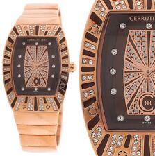 edle Damen Armbanduhr Braun/Rotgold Crystal Edelstahlarmband CERRUTI 429 € UVP