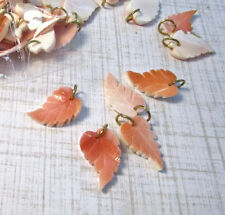 Carved Leaf Natural Pink Conch Shell Pendant Charms Beads, QTY2 Pair