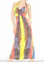 ABITO LUNGO vestito donna elegante schiena nuda incrociato festa long dress 55XR