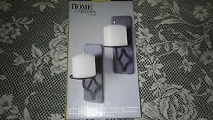 New Home Interior Accents By Hosley 2pc Metal Wall Pillar Holder Black