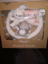 Playgro Musical Baby Crib Mobile White Grey Pink Plush Bear Bunny Elephant Music
