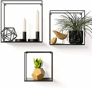Gadgy Metal Wall Shelf Industrial | 3 Piece Set | Black shelf |Floating Shelves
