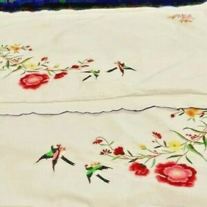 GORGEOUS HAND EMBROIDERED WHITE COTTON PARE PILLOWCASES UNUSED