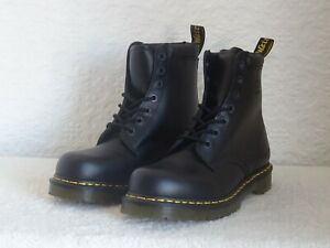 WORN ONCE DR MARTENS BLACK LEATHER SAFETY BOOTS SZ 9 UK 43 EUR 8947 RM MINT