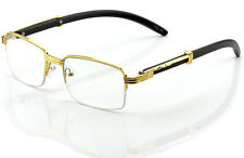 Womens Men Retro Vintage Clear Lens Gold Half Frame Fashion Designer Eye Glasses