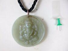 GANESHA Buddha Amulett  echte grüne Jade transparent & Halskette Thailand ~1970