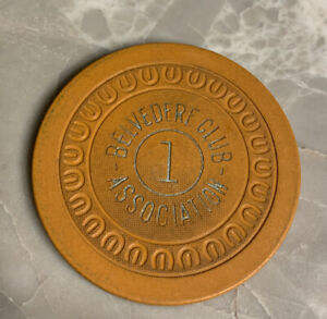 Belvedere Club Hot Springs Arkansas Illegal Casino Chip Orange $1 Chip 1941 Rare